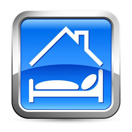 hotel , bed - button Vector