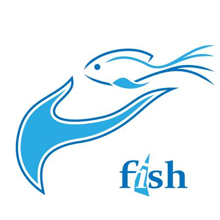 fishy: fish and hand - sign Illustration