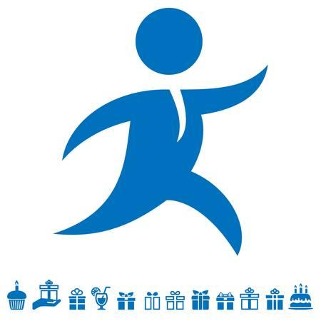 実行中の男、宅配便、ギフト アイコン  イラスト・ベクター素材