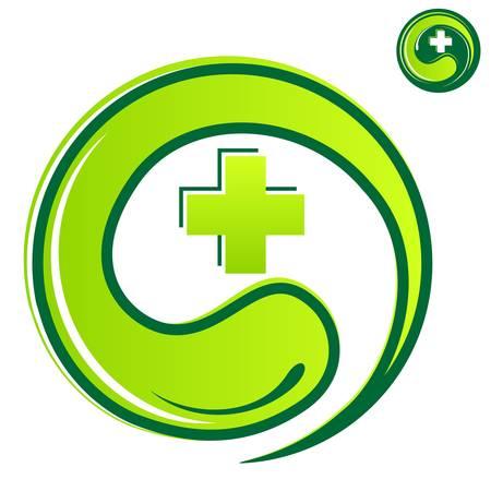 alternatív gyógyászat fogalma - orvosi cross Illusztráció