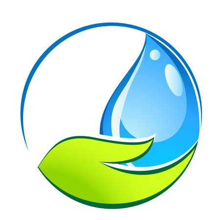 water conservation: water drop in hand - eco sign