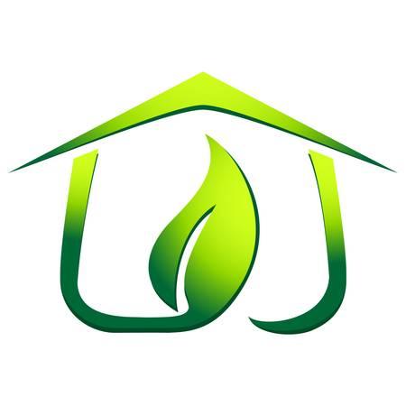 緑のエコハウス  イラスト・ベクター素材