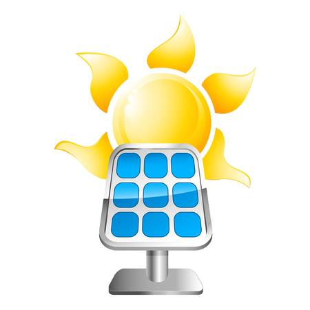 solar panel with sun Stock Vector - 21950609