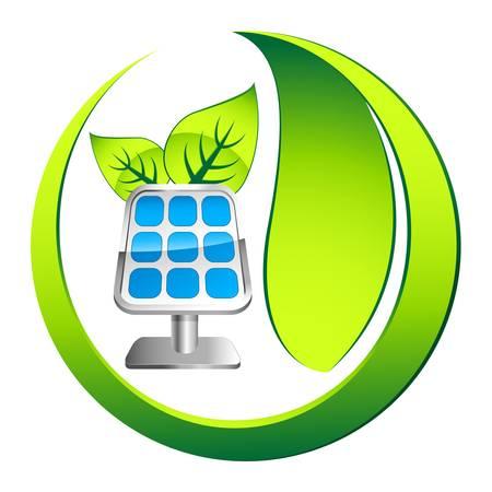 solar equipment: icono del panel solar con las hojas Vectores