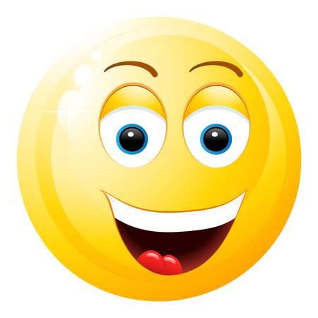 smiley content: smiley avec la bouche ouverte Illustration