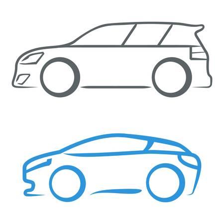 silhouette voiture: voiture de sport - signe symbole