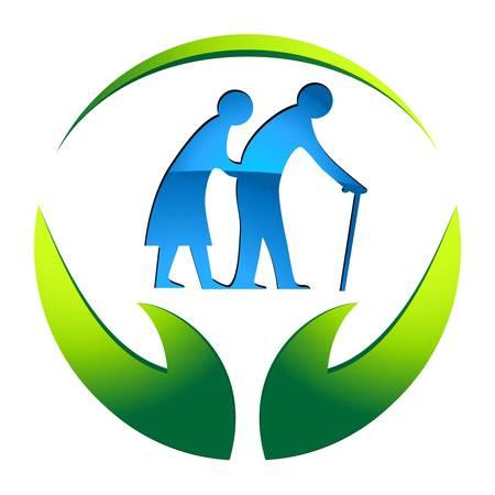 összpontosított: idősek otthonában jel Illusztráció