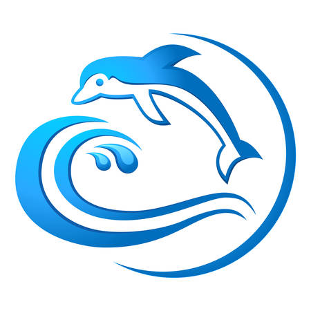 dolphin jumping through a wave - sea life sign Vector
