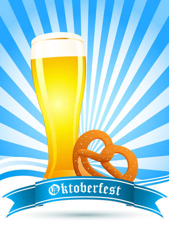Oktoberfest card with beer glass and pretzel Vector