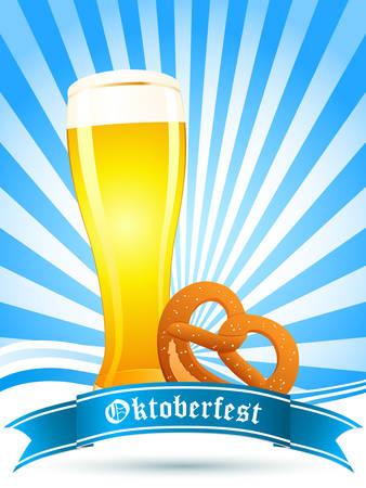 stein: Oktoberfest scheda con bicchiere di birra e pretzel