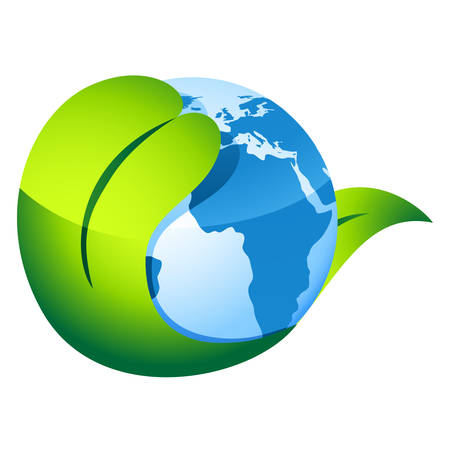 world agricultural: earth and leaf - environment symbol Illustration