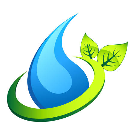 environmentally friendly: water drop and leafs - nature icon Illustration