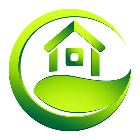 home button: eco friendly house - real estate symbol