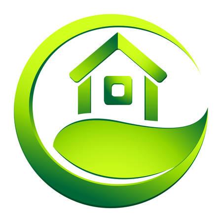 conviviale: maison �colo - symbole de l'immobilier Illustration