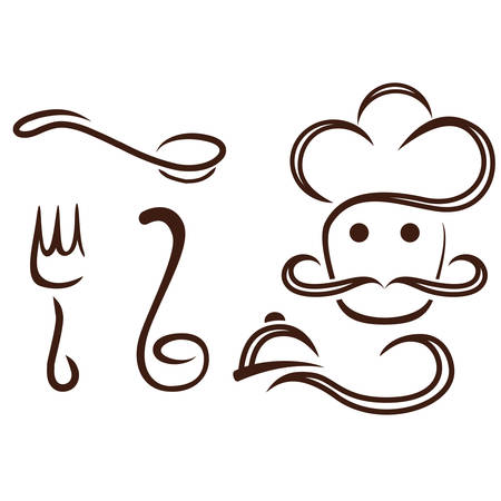ladles: chef hat with spoon, fork and ladle Illustration