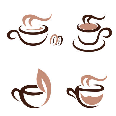 steam of a leaf: coffee and tea - icon set