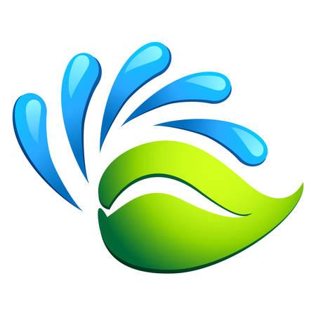source d eau: des gouttes d'eau et de feuilles vertes - symbole �co