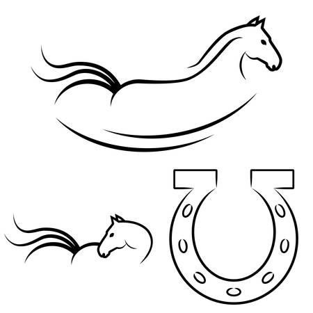 paard symbool en hoefijzer Stock Illustratie