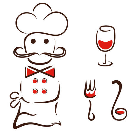 chef with fork, ladle and wine glass - restaurant icons Vector