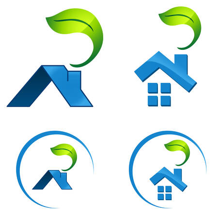 housetop: eco friendly house - real estate symbol