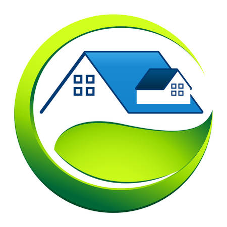 roof top: eco friendly house - real estate symbol