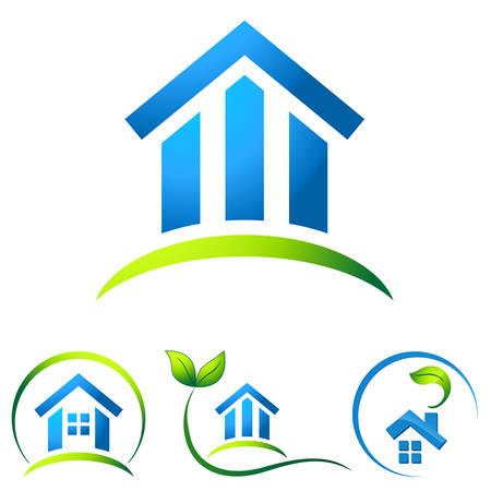 環境にやさしい家 - 不動産のアイコン  イラスト・ベクター素材