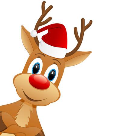 reindeer and Santa hat  Stock Vector - 23201791