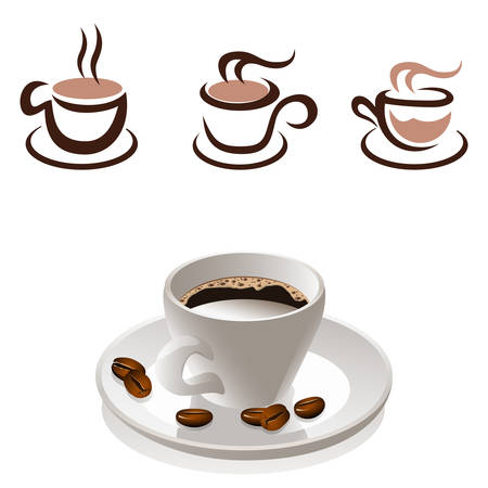 cofe: coffee cup and coffee beans - icon set Illustration