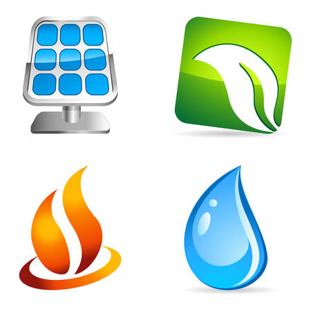 fire, water, energy and environment icons Stock Vector - 23657305