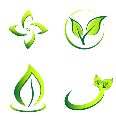 green eco icons Ilustrace