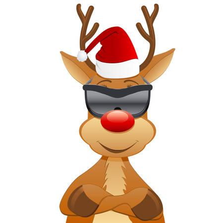 reindeer with Santa hat and sunglasses