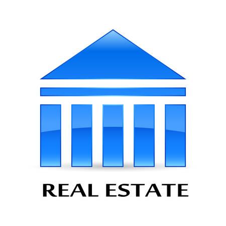 brokerage: luxury house hotel - glossy icon Illustration