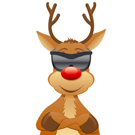 reindeer with sunglasses  Vector