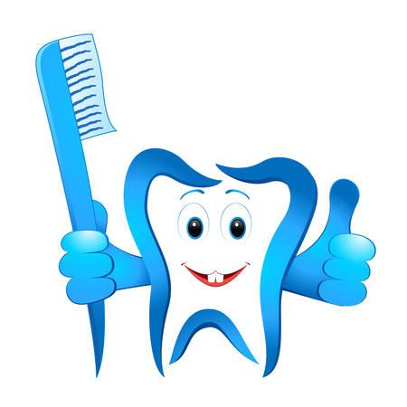 higiene bucal: sonriendo diente dental con cepillo de dientes Vectores