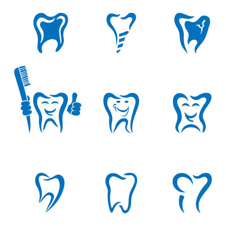 oral cavity: tooth icon collection Illustration