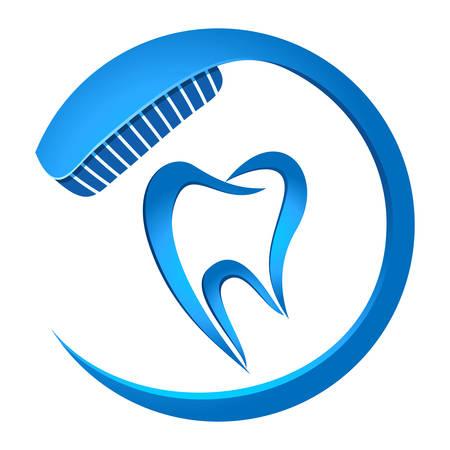 caries dental: diente y cepillo de dientes Vectores
