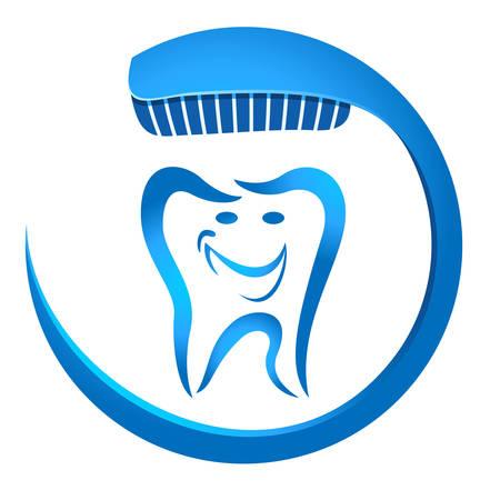 prophylaxe: l�chelnden Zahn mit Zahnb�rste Illustration
