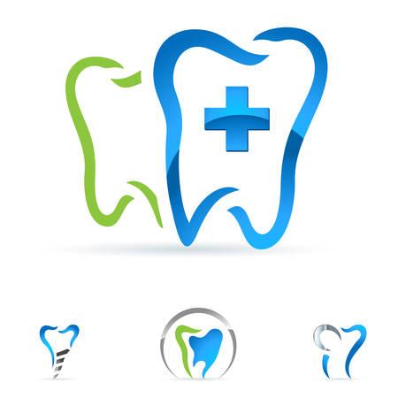 holten: tandheelkundige zorg iconen Stock Illustratie