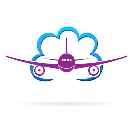 travel icon: vliegtuig en cloud