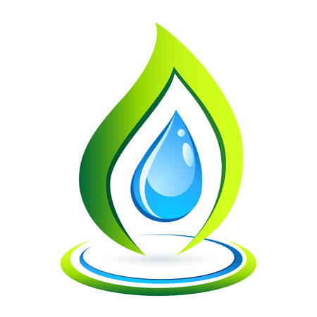 clear water drop and green leaf - icon