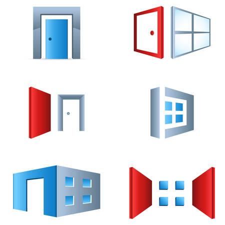 glass doors: window and door - icon set