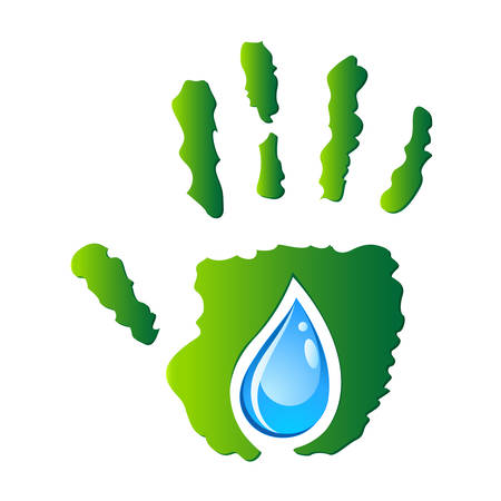 safe drinking water: water drop in hand - eco sign