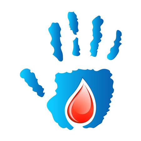 blood donation - hand and blood drop Vector