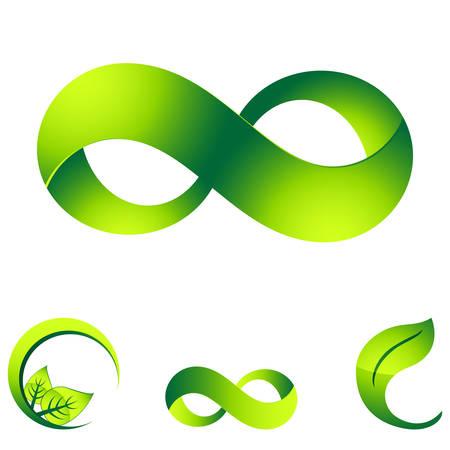 endlos: unendlich und Öko-Zeichen Illustration
