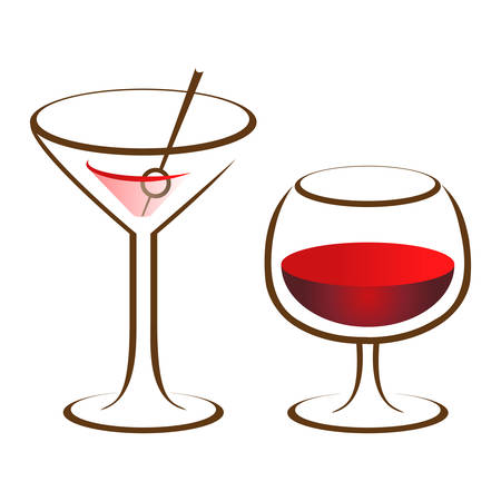 tonic: wine glass and cocktail glass - icon set