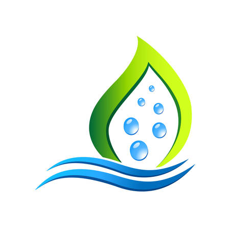 water bubbles and leaf - eco icon Vector