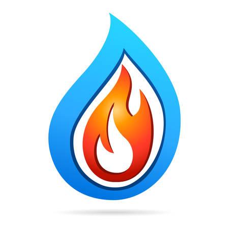 gocce di colore: fuoco e acqua - icona del design