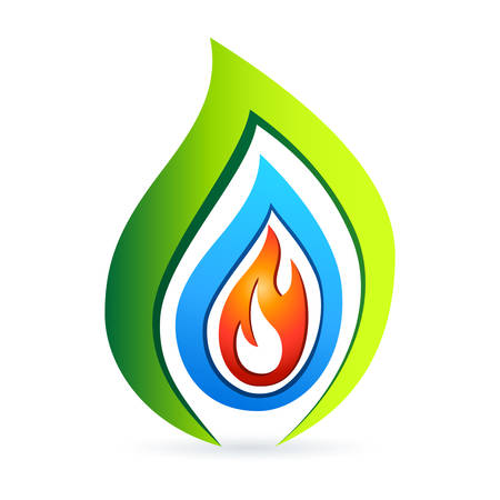 fire, water, nature - icon