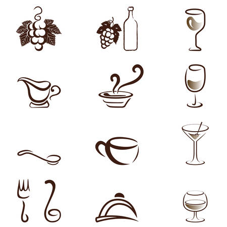 cloche: drink and food icons