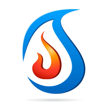 fire flame and water drop - vector icon Illustration